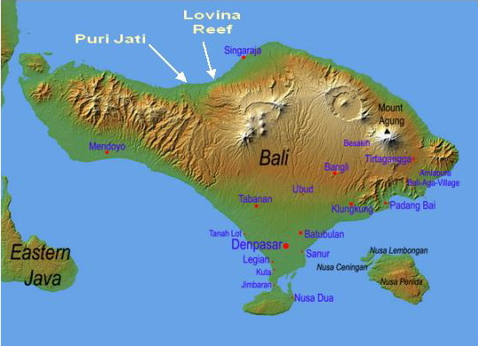 North Bali map showing the main dive sites