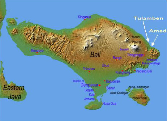 Map Northeast Bali - Main Dive Areas