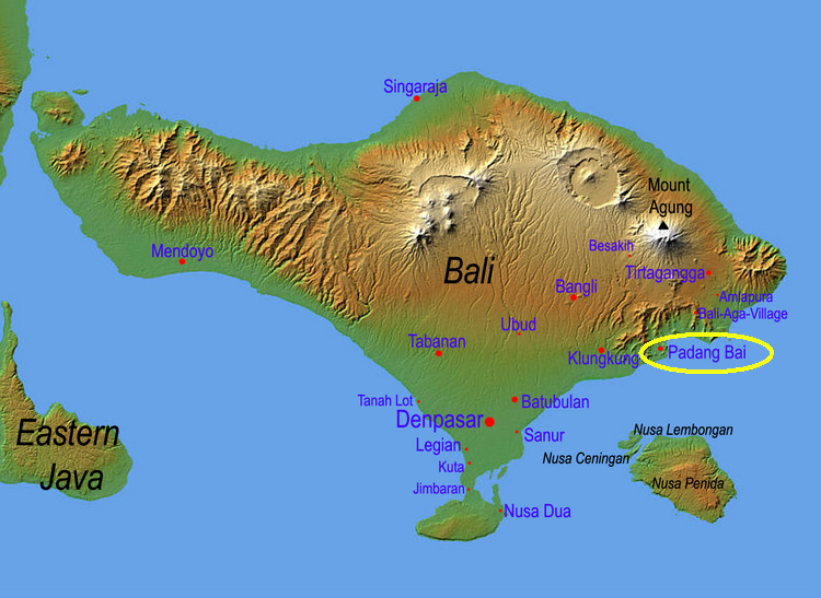 Carte Bali Nusa Lembongan.Diving Indonesia Bali Padang Bai And The East Coast