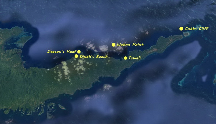 Milne Bay north coast dive sites - Mine Bay north coast dive site map