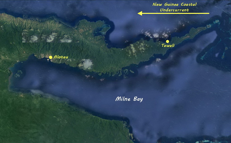 Milne Bay north coast dive sites - Map of Milne Bay and the north coast