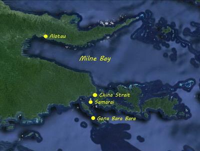 Milne Bay Manta Rays - Gona Bara Bara Island Map