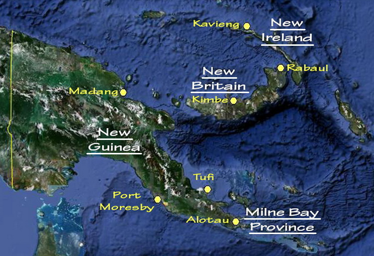 Papua New Guinea Scuba Diving - Map of the main scuba diving locations in Papua New Guinea