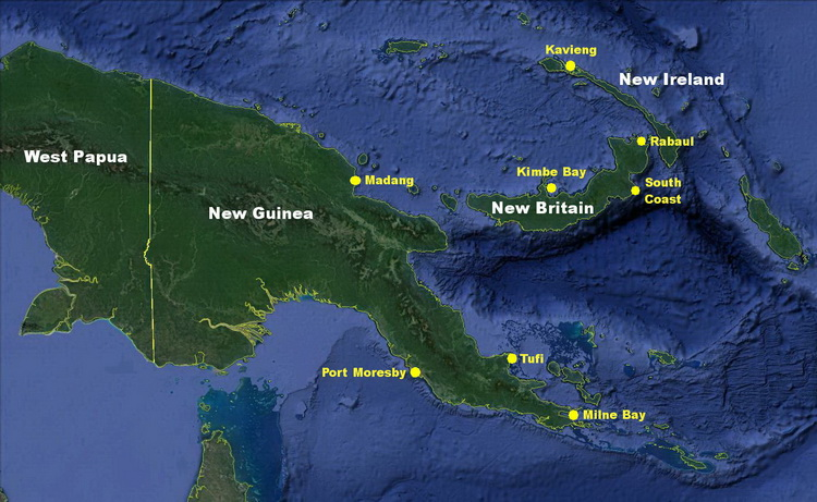 Scuba Diving in Papua New Guinea - Map of the main scuba diving locations in Papua New Guinea