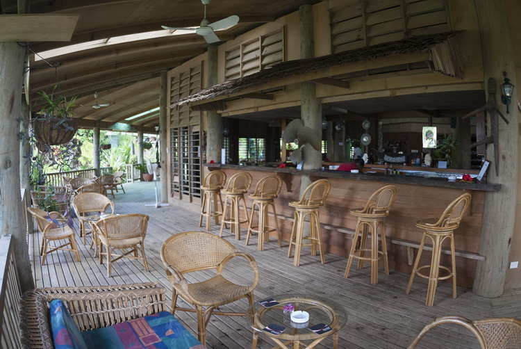 The verandah around the main lodge at Tufi Dive Resort