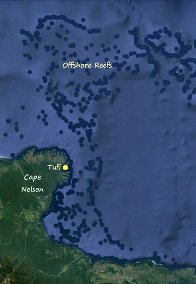 Tufi's Offshore Reefs - Location Map