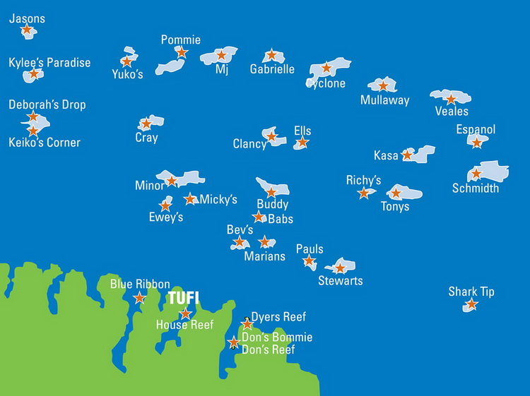 Tufi's offshore reefs - The Main Offshore Reefs and Sea-Mounts