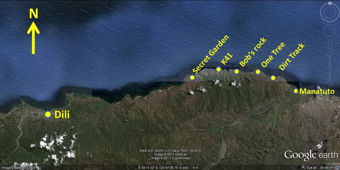 Dive Sites East of Dili - Coastal Dive Sites Map - East of Dili
