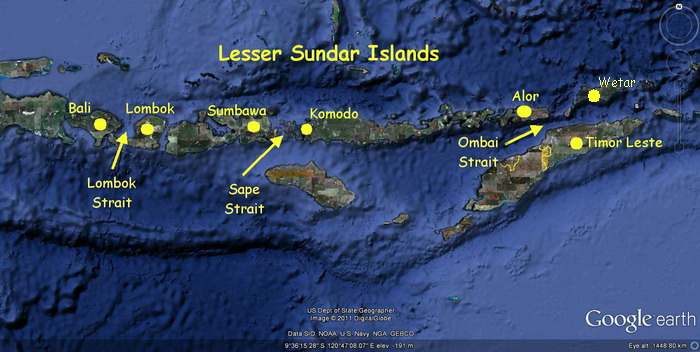Scuba Diving in Timor Leste - Map of the Lesser Sundas Islands Map showing the Lombok, Sape & Ombai Straits