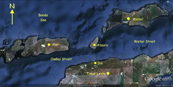 Scuba Diving in Timor Leste - Timor Leste, Alor and Wetar map showing the Ombai Strait