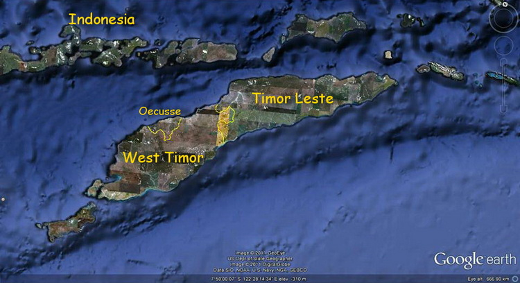 Timor Leste Overview and History - Timor Leste map also showing West Timor and Oecusse
