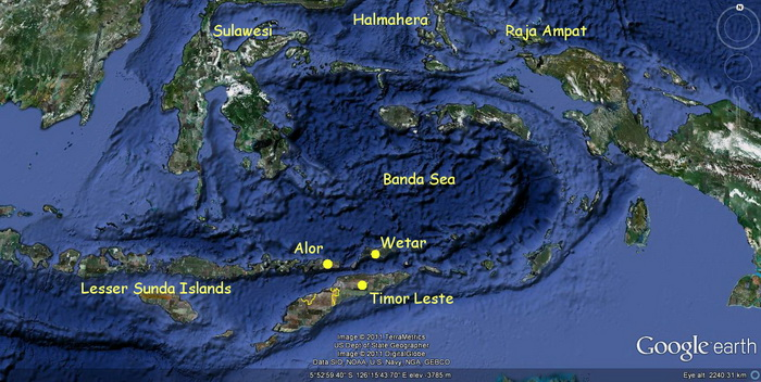 Scuba Diving in Timor Leste - Timor Leste and Banda Sea Map