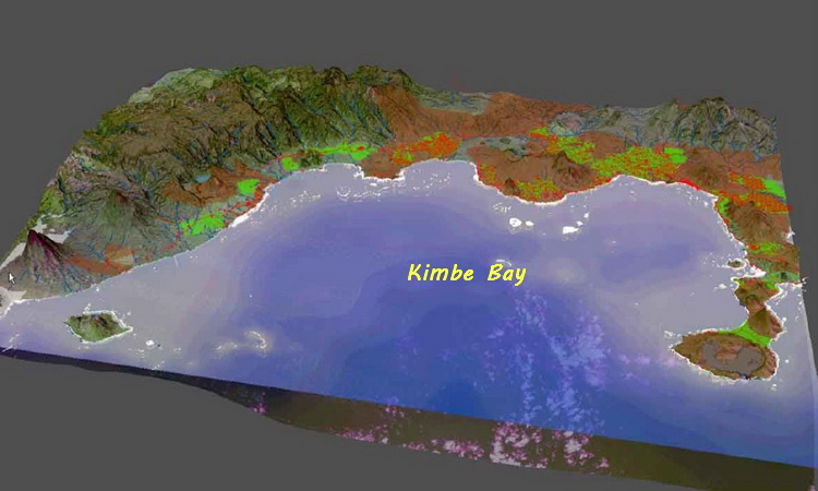 Kimbe Bay overview - Topographical view of Kimbe Bay