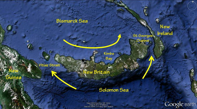 Kimbe Bay Biodiversity - New Britain current map