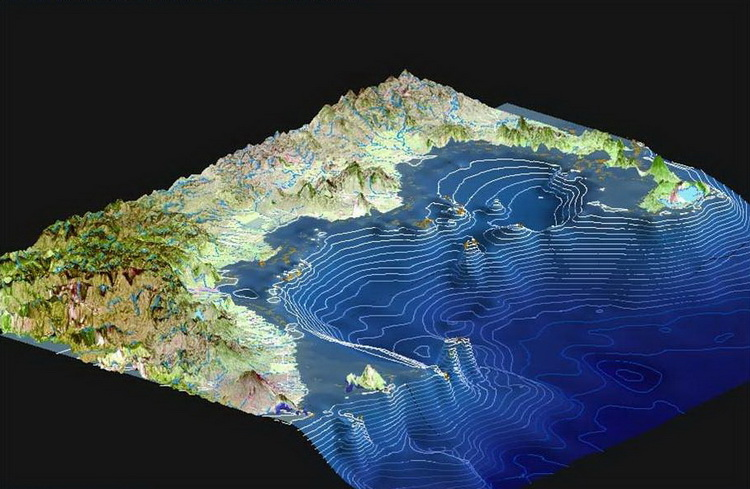 Kimbe Bay's Incredible Biodiversity - Bathymetric Map of Kimbe Bay