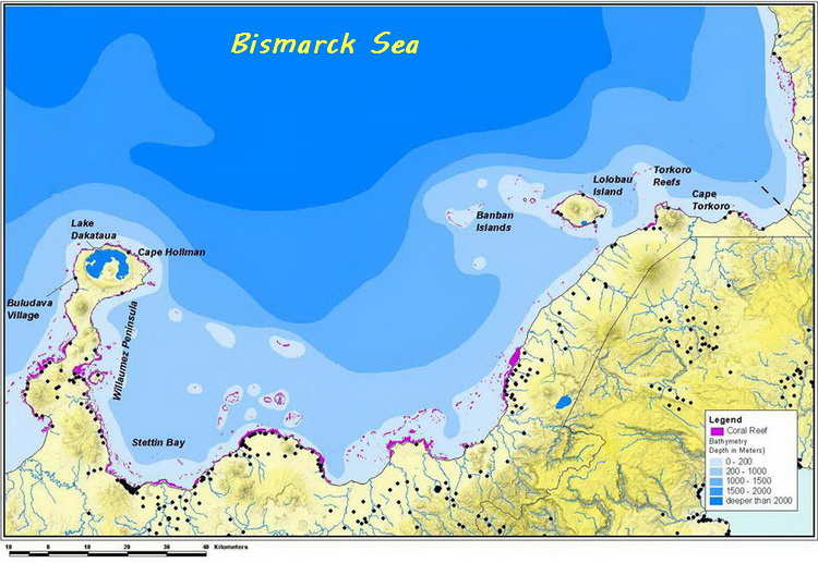 Kimbe Bay Biodiversity - Kimbe Bay depth contour map