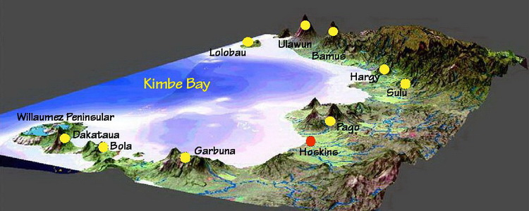 Kimbe Bay overview - Volcano map of Kimbe Bay