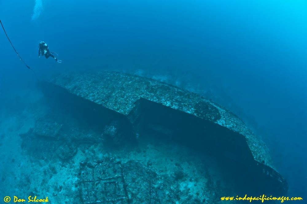 Der Yang Wreck - Diver on the wreck of the Der Yang