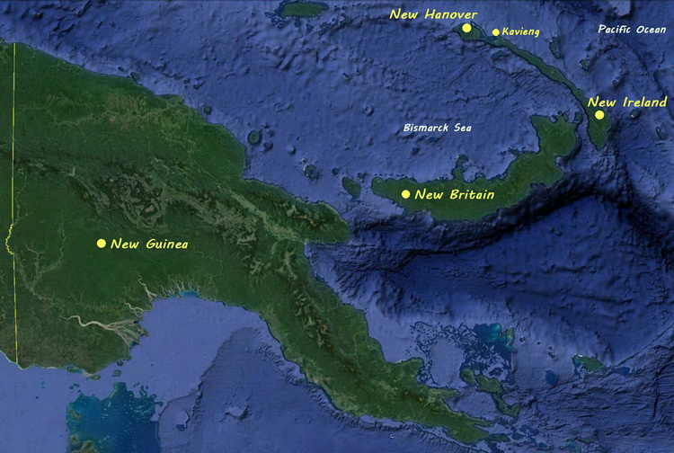 Diving Kavieng - Map of Papua New Guinea showing the position of New Ireland