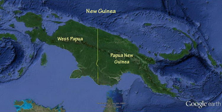 Map of the island of New Guinea showing the region of West Papua in Indonesia and Papua New Guinea