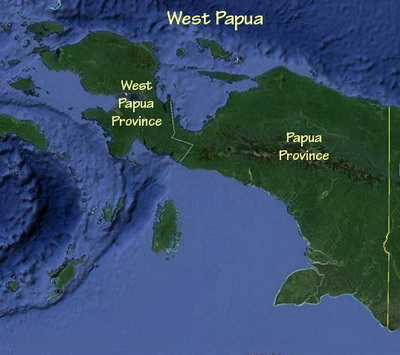 Map of West Papua showing its two provinces