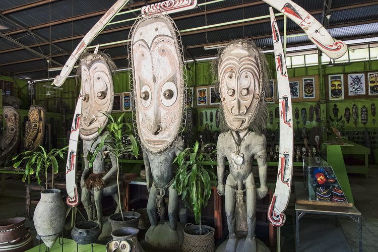 Traditional artifacts on display at PNG Arts in Port Moresby