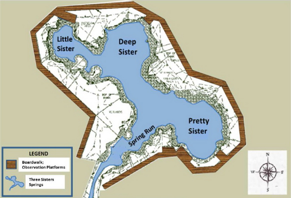 Map of the Three Sisters Springs - Courtesy of the US Fish and Wildlife Service