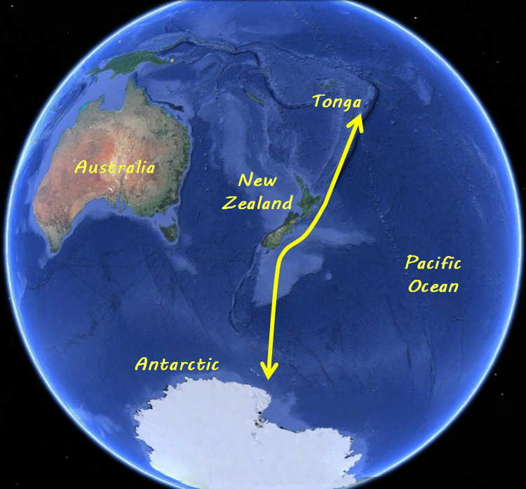 Tongan Humpback Whale Migration - The migration path of the Tongan Tribe of southern humpback whales