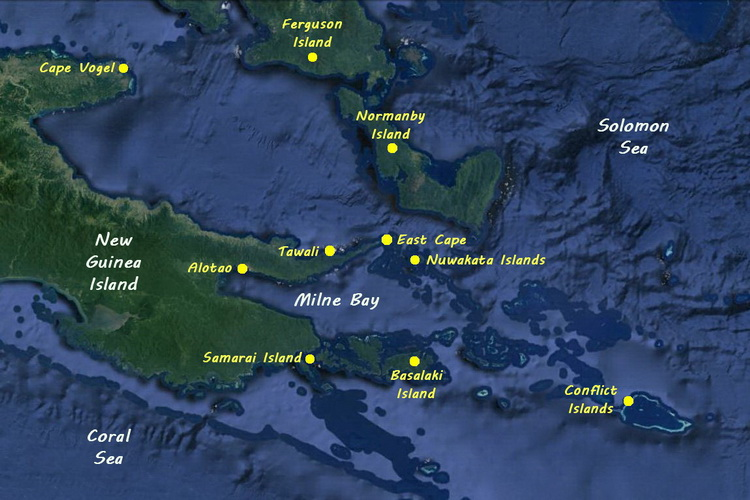 Diving Milne Bay Province - Dive locations