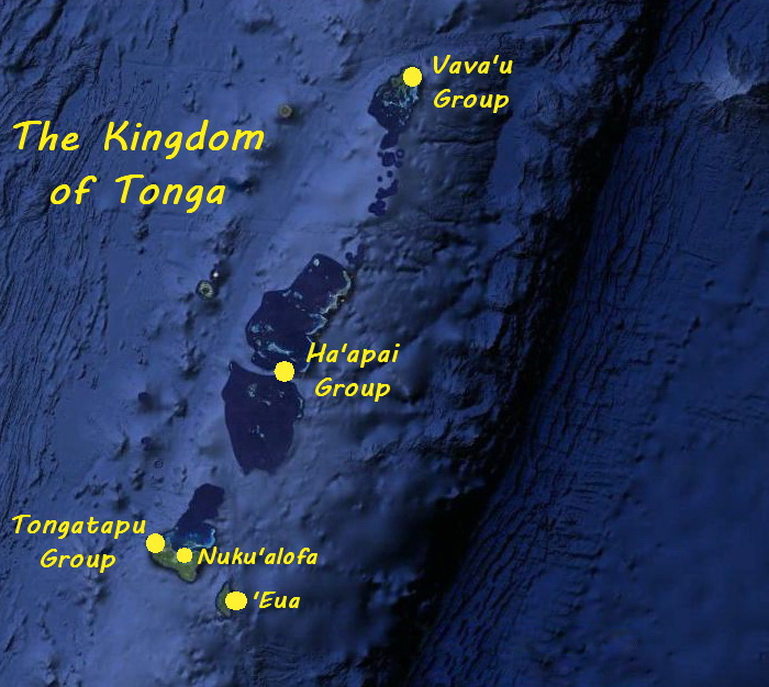 Map of the Island Groups of Tonga