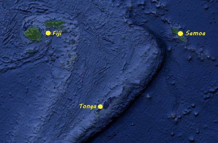 Map of Tonga, Samoa & Fiji