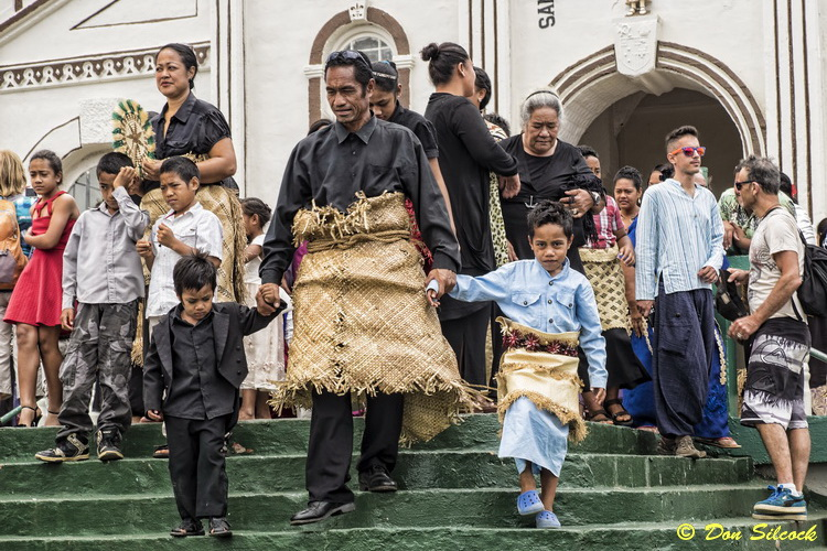 Tonga's Polynesian culture - Outside church on a Tongan Sunday