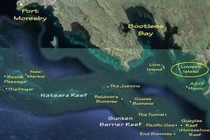 Guide to Diving Port Moresby - Moresby Dive Site Map