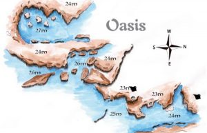 Tofo Dive Sites - Dive Site Map of the Oasis